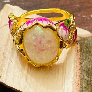 Opalescent Floral Statement Ring